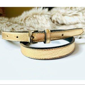 B-LOW THE BELT Gold satin leather skinny belt
